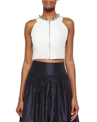 Beaded Zip-Front Crop Top & Taffeta Ball Skirt
