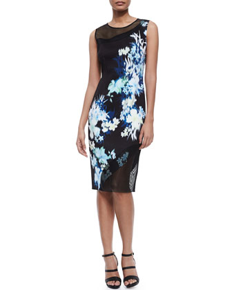 Emory Floral-Print Sheath Dress W/ Mesh