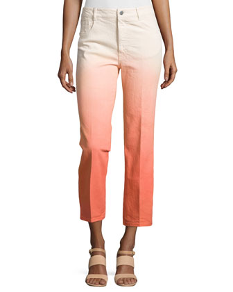 Ombre Cropped Denim Trousers