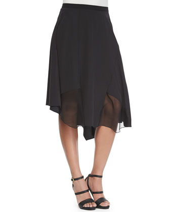 Sidney Ribbed Sheer-Sleeve Sweater & Sachi Skirt with Chiffon Panels