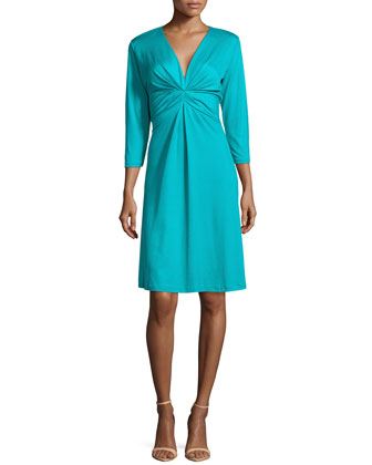 Summit Pleated A-Line Dress, Deep Sea