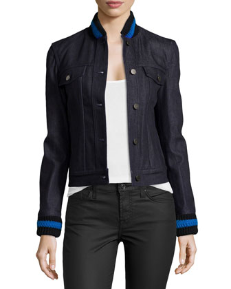 Denim Jacket with Striped Knit Trim