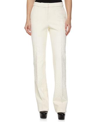 Paisley Gabardine Flare Trousers, White