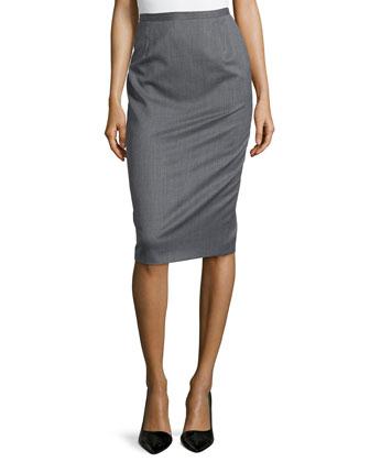 Wool Pencil Skirt, Gray