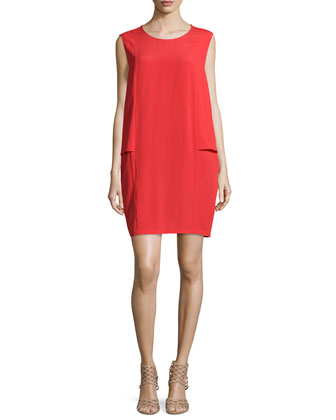 Silk-Blend Tulip Dress, Red