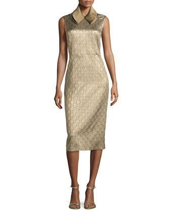 Medallion-Jacquard Sheath Dress, Gold