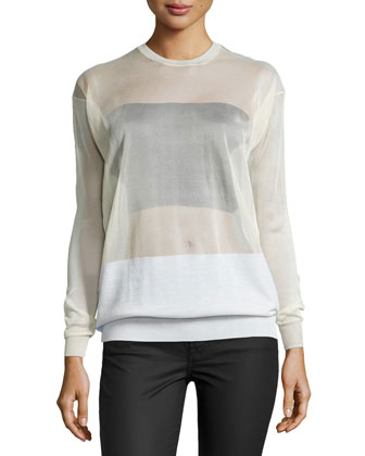 Long-Sleeve Sheer Pullover