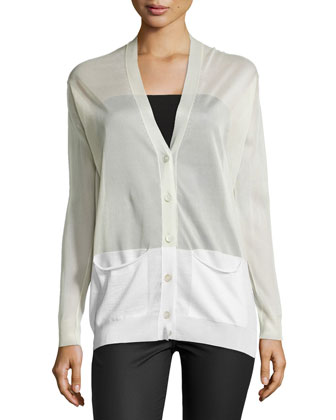 Sheer Paneled V-Neck Cardigan, Ivory/Multi