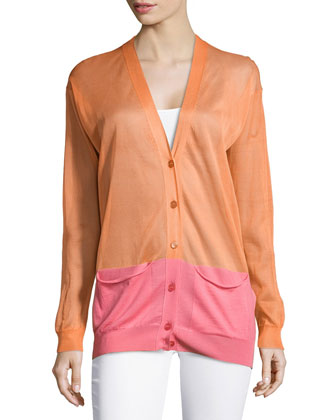 Colorblock V-Neck Cardigan, Orange/Pink