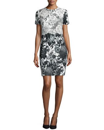 Floral-Print Lace-Trimmed Dress