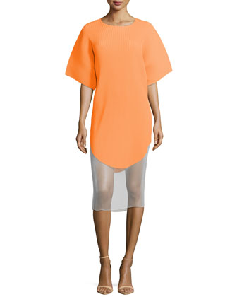 Short-Sleeve Ribbed Illusion-Hem Dress, Orange