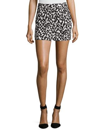 Animal-Print Mini Skirt, Black/White