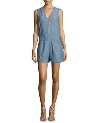 Sleeveless Chambray Short Jumpsuit