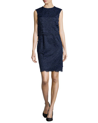 Lola Pop Top Lace Dress, Navy