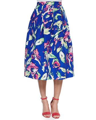 Edna Short-Sleeve Crop Top & Jackie Floral-Print Tea-Length Full Skirt