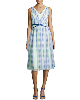 Monet Plaid Georgette Dress, Blue/Green/White