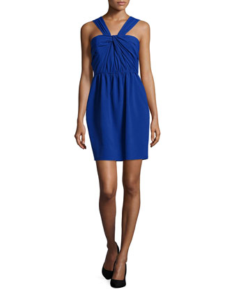 Zoya Halter Knot-Bodice Dress