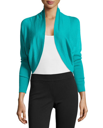 Riza Bolero Silk Cashmere Sweater, Sea Green