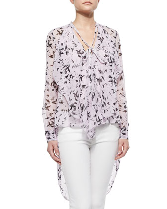 Keslyn Graphic Draped-Front Silk Blouse, Lilac