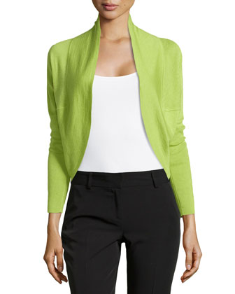 Riza Bolero Silk Cashmere Sweater, Green
