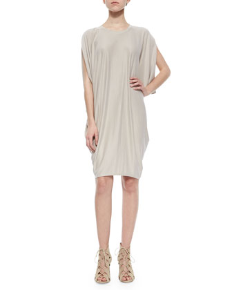 Monet Draped Stretch-Knit Dress, Light Stone
