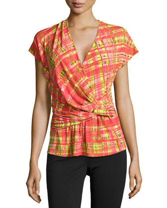 Habi Wrap-Twist Plaid Top