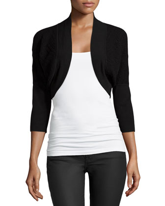 Casama 3/4-Sleeve Bolero Sweater, Black