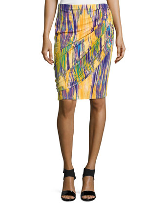 Tboli Printed Draped Pencil Skirt