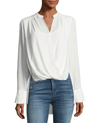 Jaklyn Draped Georgette Blouse