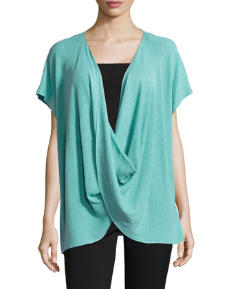 Draped Short-Sleeve Ribbed Sweater, Blue