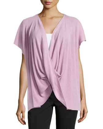 Draped Short-Sleeve Ribbed Sweater, Opaline
