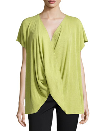 Draped Short-Sleeve Ribbed Sweater, Key Lime