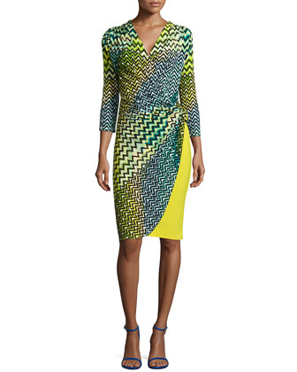 Deco Wave-Dot Printed Dress, Key Lime
