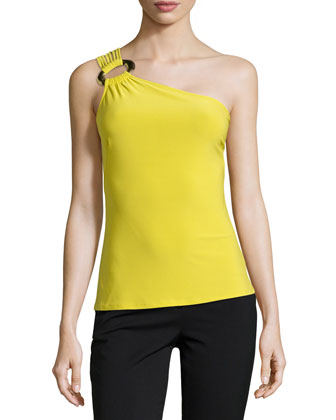 One-Shoulder Jersey Tank, Key Lime
