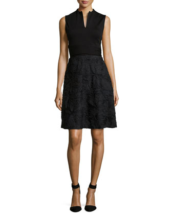 3D Lace Fit-and-Flare Dress, Black
