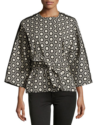 Stretch Geo Jacket, Black/Ivory