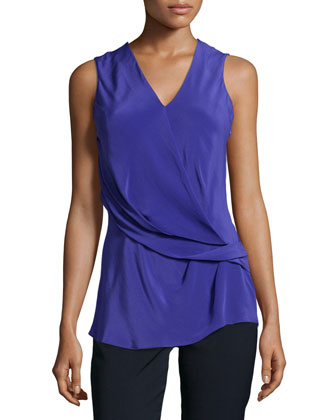 Gathered Sleeveless Blouse, Cobalt