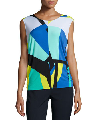 Dao Geo-Printed Sleeveless Top, Cobalt