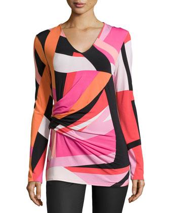 Dao Geo-Printed Long-Sleeve Top, Pink/Multi
