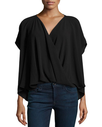 Draped Wrap Blouse, Black