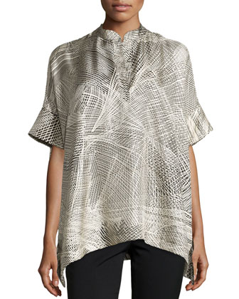 Lines Silk Twill Top, Black/Ivory