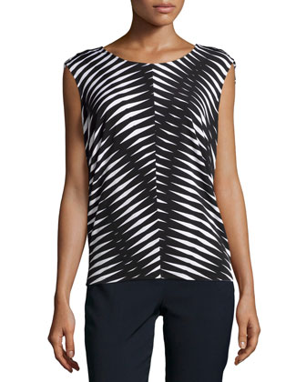 Chevron Sleeveless Top, Black/Multi
