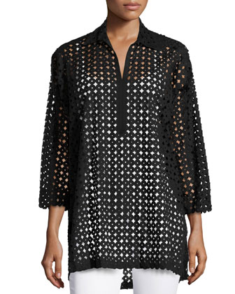 Circles Laser-Cut Blouse, Black