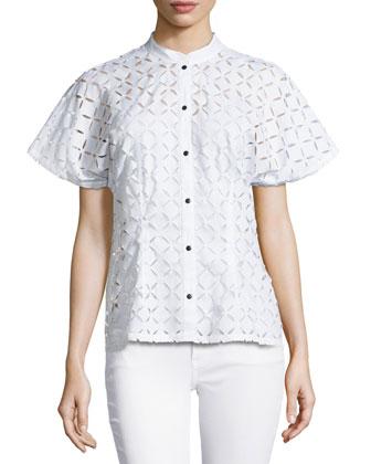 Petals Laser-Cut Top, Blanc