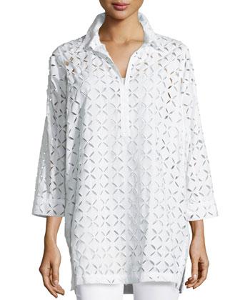 Petals Laser-Cut Pullover Top, Blanc