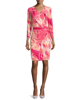 Draped Printed Jersey Dress, Pink