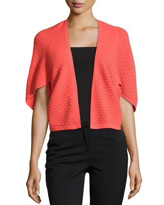 Textured Open-Front Cardigan, Hot Coral