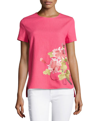 Shibori Pique Floral Embroidered Top, Rose