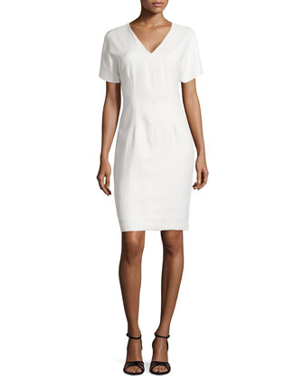 Raffia V-Neck Dress, Blanc
