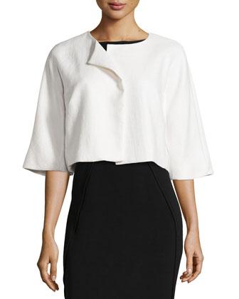 Raffia Cropped Jacket, Blanc